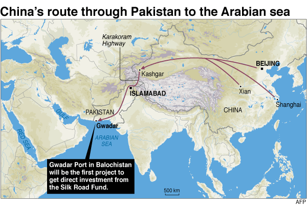 China's route through Pakistan to the Arabian Sea. Image: Agence France-Presse