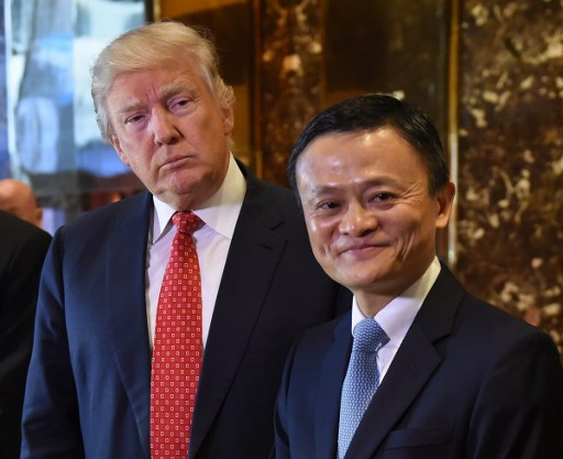 Jack Ma and Donald Trump pose after their meeting at Trump Tower in January. Ma has shown a shrewd sense of how he can help China's leaders. Photo: AFP/Timothy A Clary