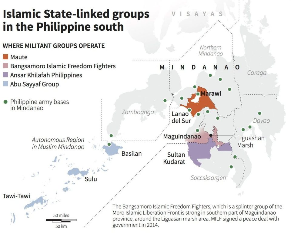 map-Philippines-Terror Groups-Abu Sayyaf-Maute Group-Islamic State-May 26-2017