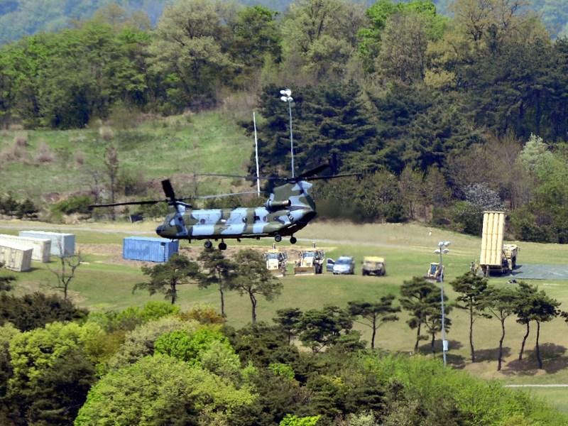 A Terminal High Altitude Area Defense (THAAD) interceptor is seen in Seongju, South Korea on April 26, 2017. Photo: Reuters
