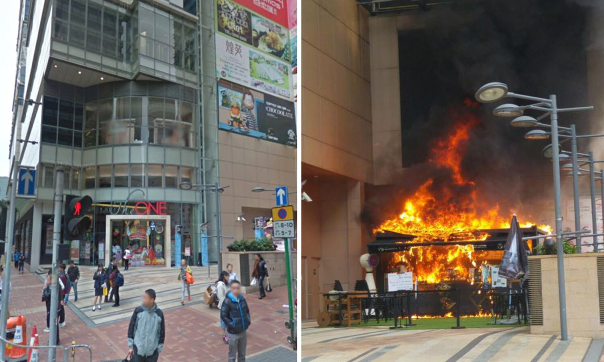 An opendoor cafe outside The One shopping mall catches fire. Photo: Google Map, MingMing@Facebook