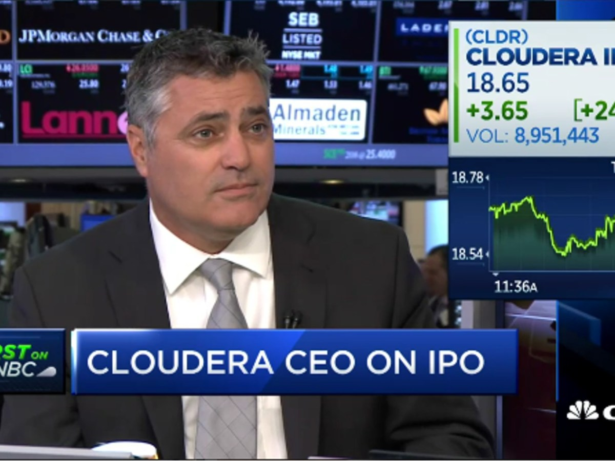 Cloudera CEO Tom Reilly speaks after the company's initial public offering in April. Source: CNBC screen grab