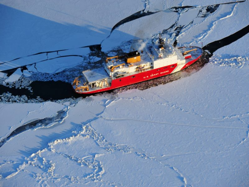 420-foot Coast Guard Cutter Healy breaks ice in the Bering Sea. Photo: US Coast Guard, Jonathan Lally