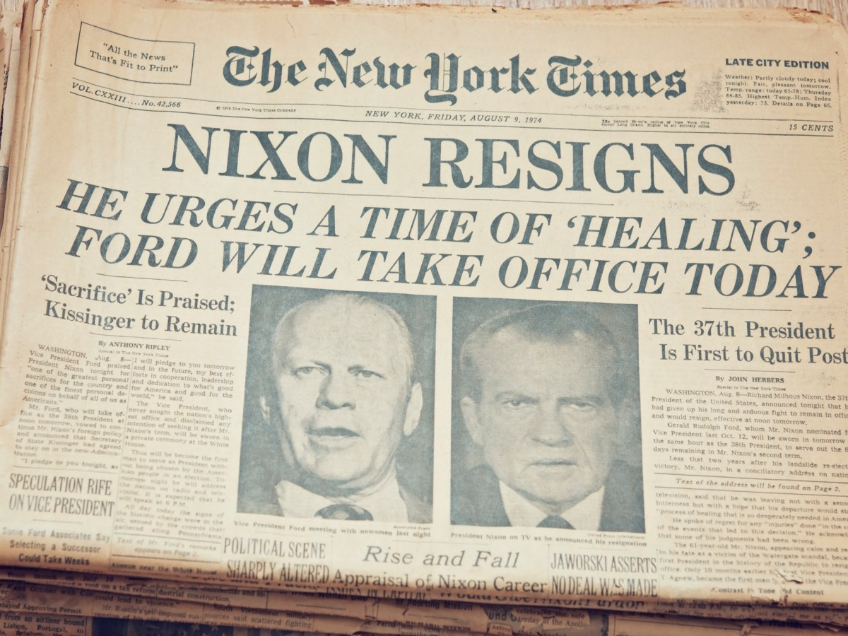 The New York Times front page, dated August 9, 1974, on President Richard Nixon's resignation. Photo: iStock
