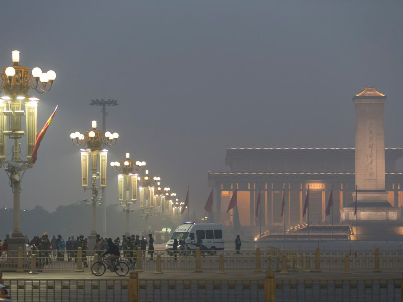 The Monument to the People's Heroes on Tiananmen Square is shrouded in smog in Beijing, where extreme air pollution is forcing the government to take measures to reduce emissions. Photo: iStock