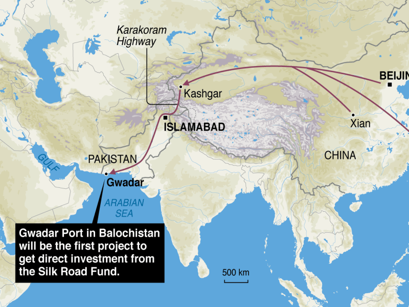 China's route through Pakistan to the Arabian Sea. Source: AFP