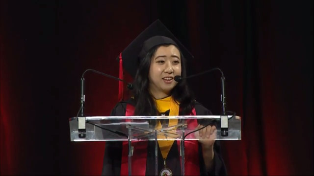 Shuping Yang delivers a commencement address about free speech and democracy in the US at the University of Maryland on May 21. Photo: Shanghaiist