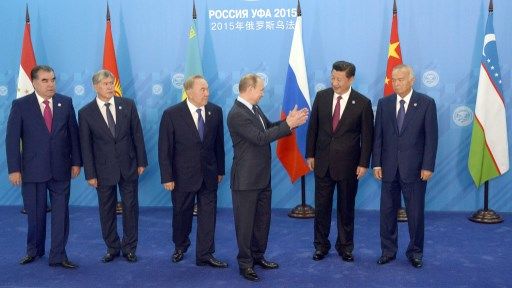 Member heads of state meet at the Shanghai Cooperation Organization (SCO) summit in Ufa, Russia, in 2015. Photo: AFP / Alexander Nemenov