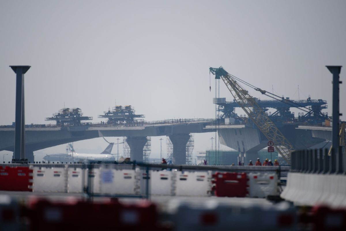A photo taken on February 9, 2017 shows construction work on the Hong Kong Link Road (HKLR) of the Hong Kong-Zhuhai-Macau Bridge (HZMB) in Tung Chung, Hong Kong. Photo: AFP / Anthony Wallace
