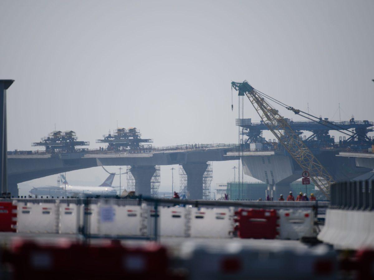 A photo taken on February 9, 2017 shows construction work on the Hong Kong Link Road (HKLR) of the Hong Kong-Zhuhai-Macau Bridge (HZMB) in Tung Chung, Hong Kong. Photo: AFP / Anthony Wallace