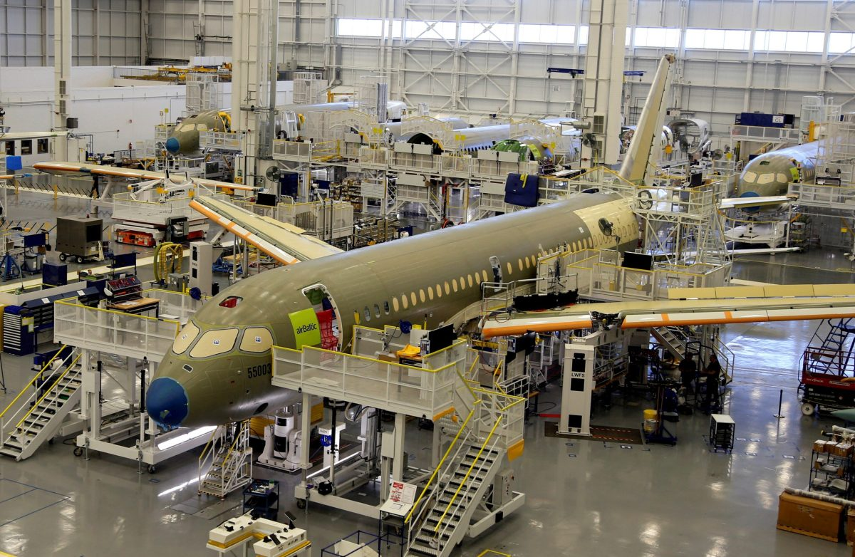 Bombardier's C Series aircrafts are assembled in their plant in Mirabel, Quebec, Canada April 29, 2016. Photo: Reuters/Christinne Muschi