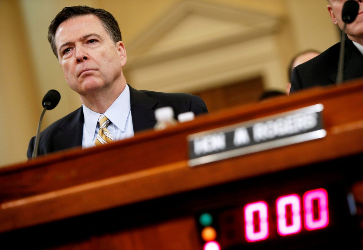 Then FBI Director James Comey testifies before the House Intelligence Committee hearing into alleged Russian meddling in the 2016 US election. Photo: Reuters/Joshua Roberts