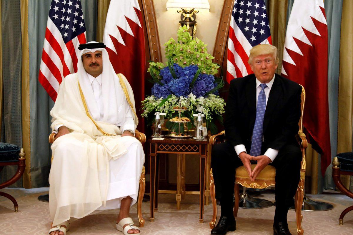 Qatar's Emir Sheikh Tamim Bin Hamad al-Thani meets with US President Donald Trump in Riyadh, in June 2017. Photo:  Reuters / Jonathan Ernst