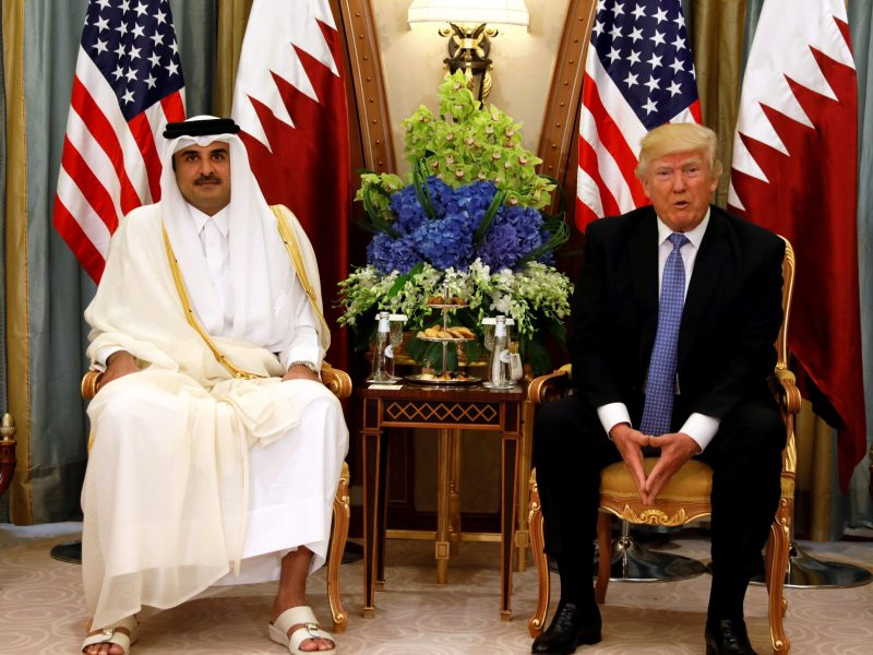 Qatar's Emir Sheikh Tamim Bin Hamad al-Thani meets with US President Donald Trump in Riyadh, in June 2017. Photo:  Reuters / Jonathan Ernst