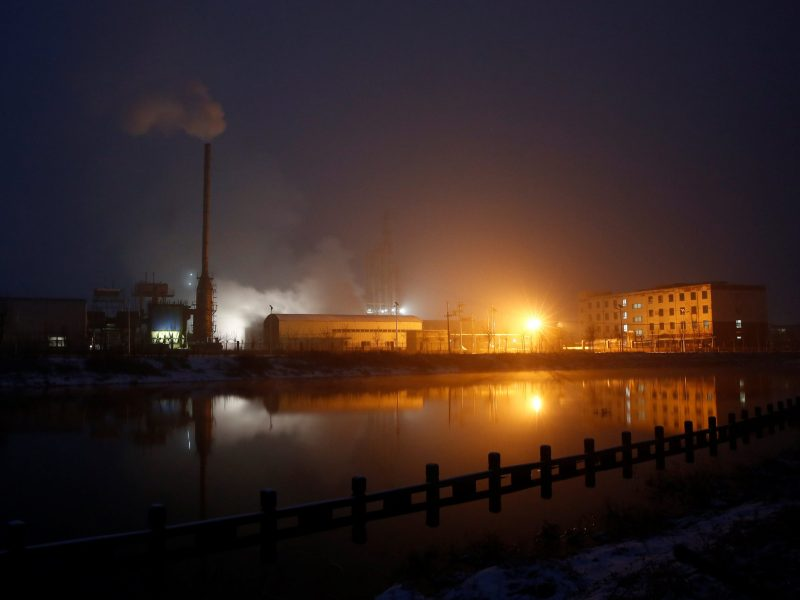 Steam and smoke rise from a factory in the Guantao Chemical Industry Park in the early morning near the villages of East Luzhuang and Nansitou, Hebei province. Photo:   Reuters/Thomas Peter