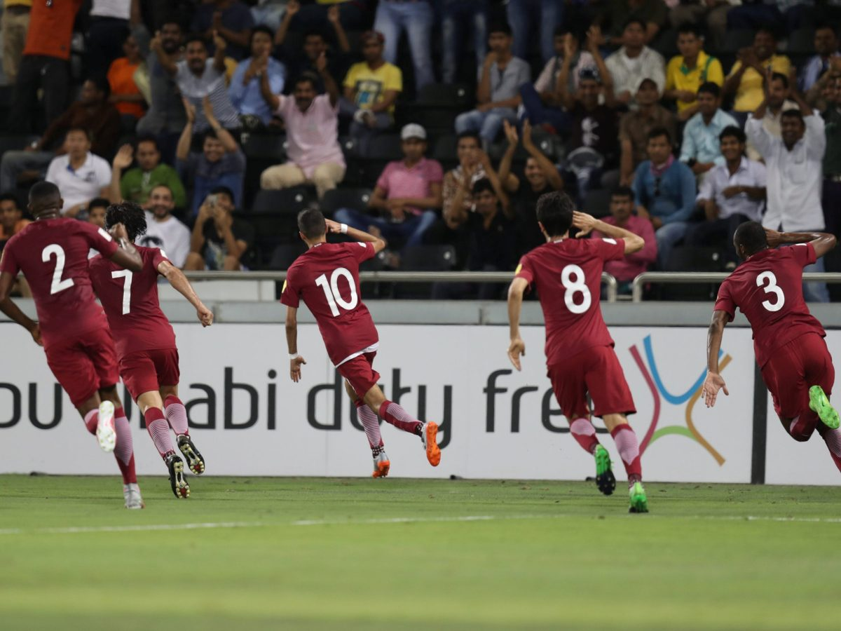 Qatar players celebrate a goal against South Korea in a World Cup qualifying match in Doha, on June 13, 2017. Photo: Reuters/ Ibraheem Al Omari
