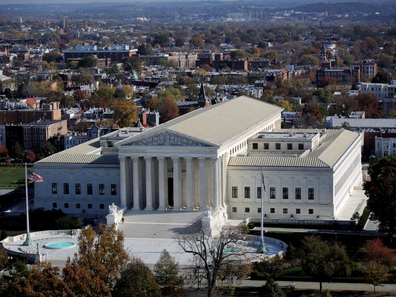 FILE PHOTO -  A general view of the U.S. Supreme Court building in Washington, U.S., November 15, 2016. REUTERS/Carlos Barria/File Photo