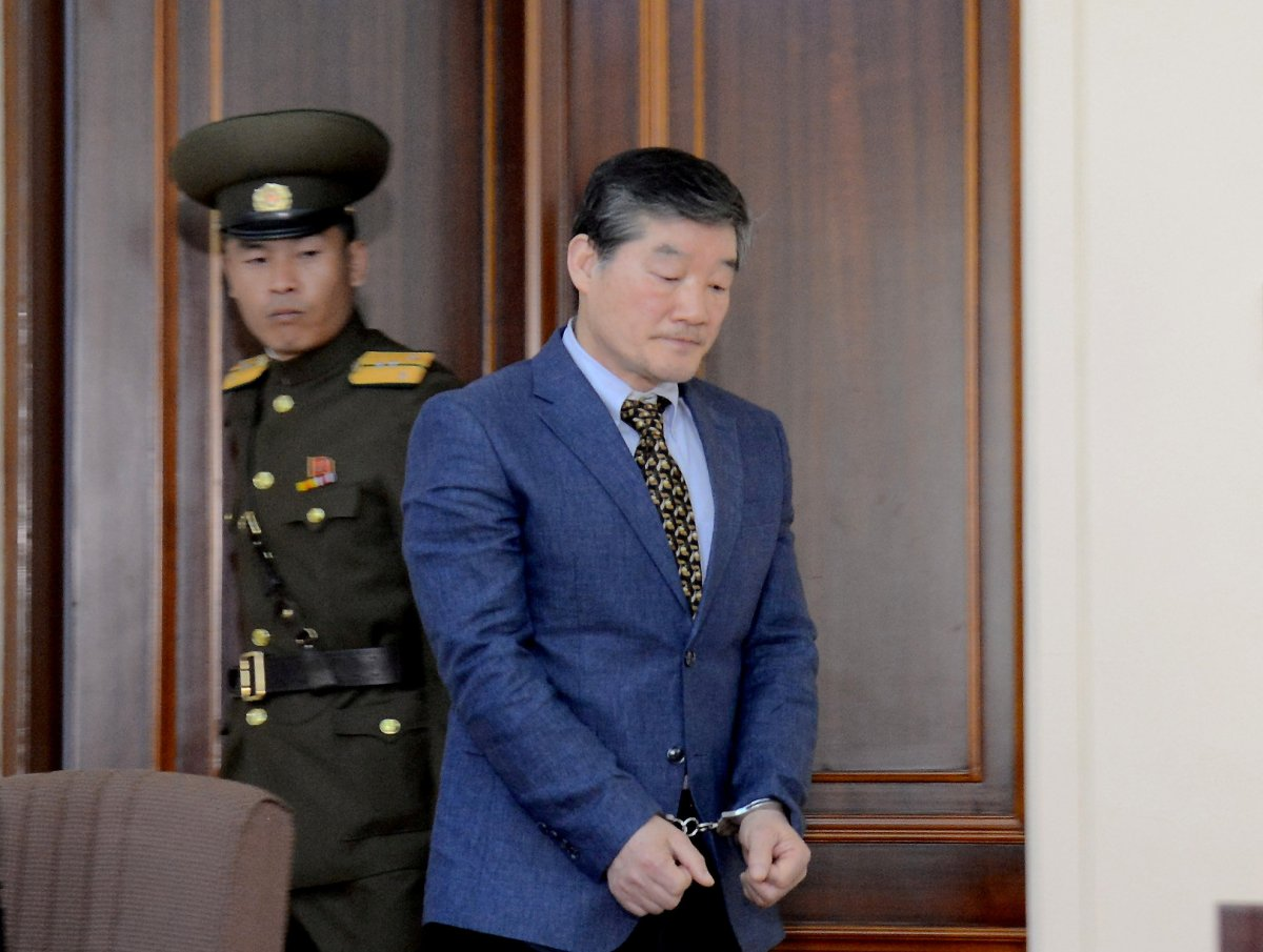 Korean American Kim Dong-chul enters a courtroom in this undated image released in 2016.  Photo: KCNA via Reuters