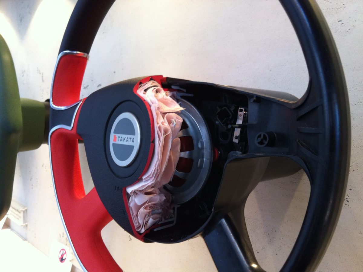 Takata airbag inflators can explode with excessive force, unleashing metal shrapnel inside cars and trucks. Photo: Wikimedia Commons