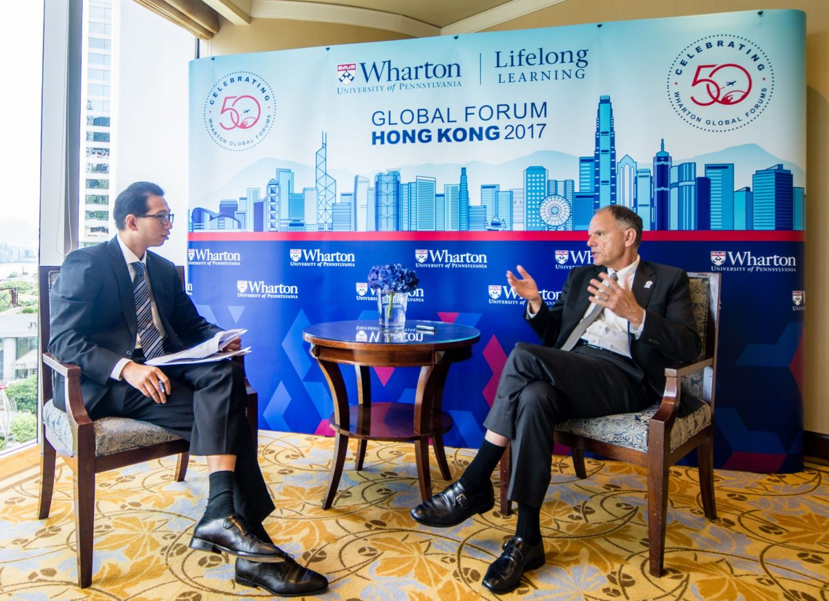 Dean Geoffrey Garrett speaks with Steve Wang of Asia Times. Photo: Asia Times/Lin Wanxia