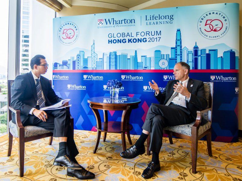 Dean Geoffrey Garrett speaks with Steve Wang of Asia Times. Photo: Asia Times/Lin Wanxia