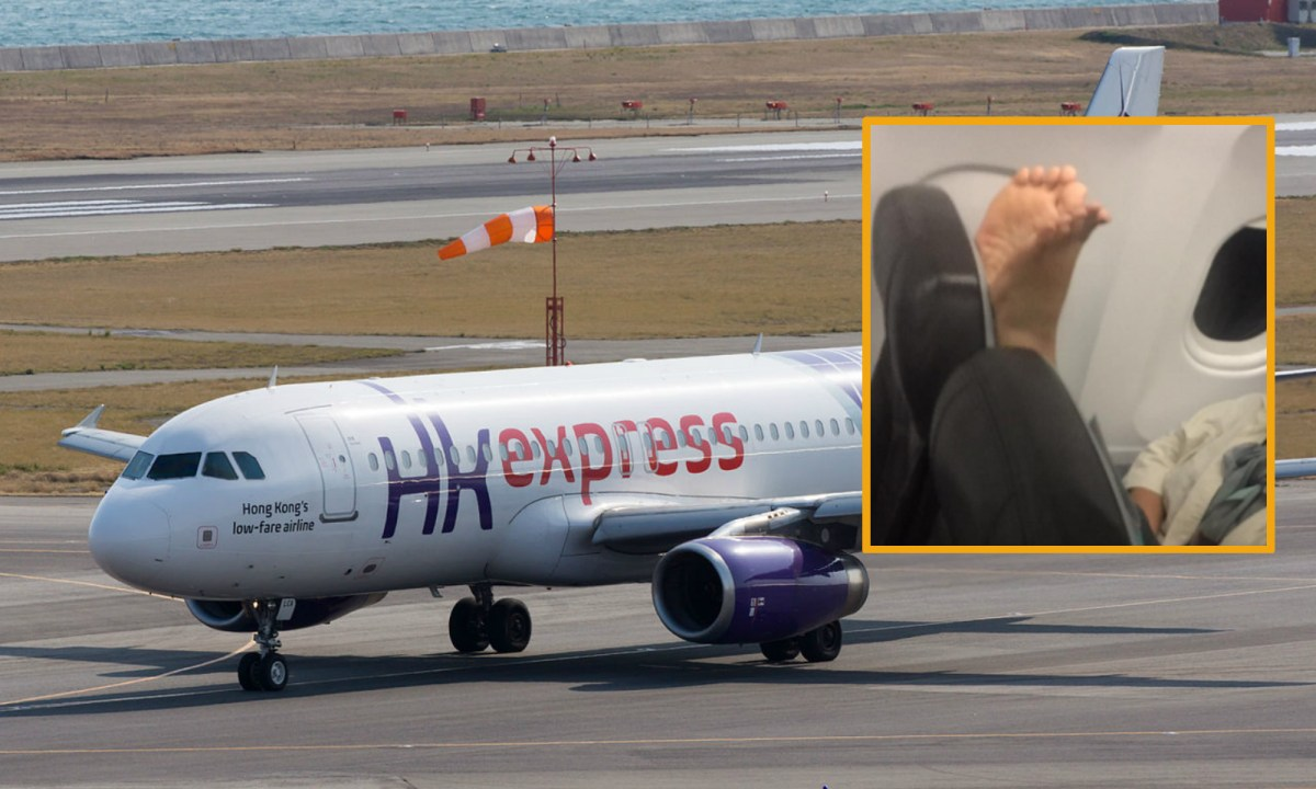 A Korean woman puts her feet at the back of her front seat on a HK Express plane. Photo: Wikimedia Commons, Facebook