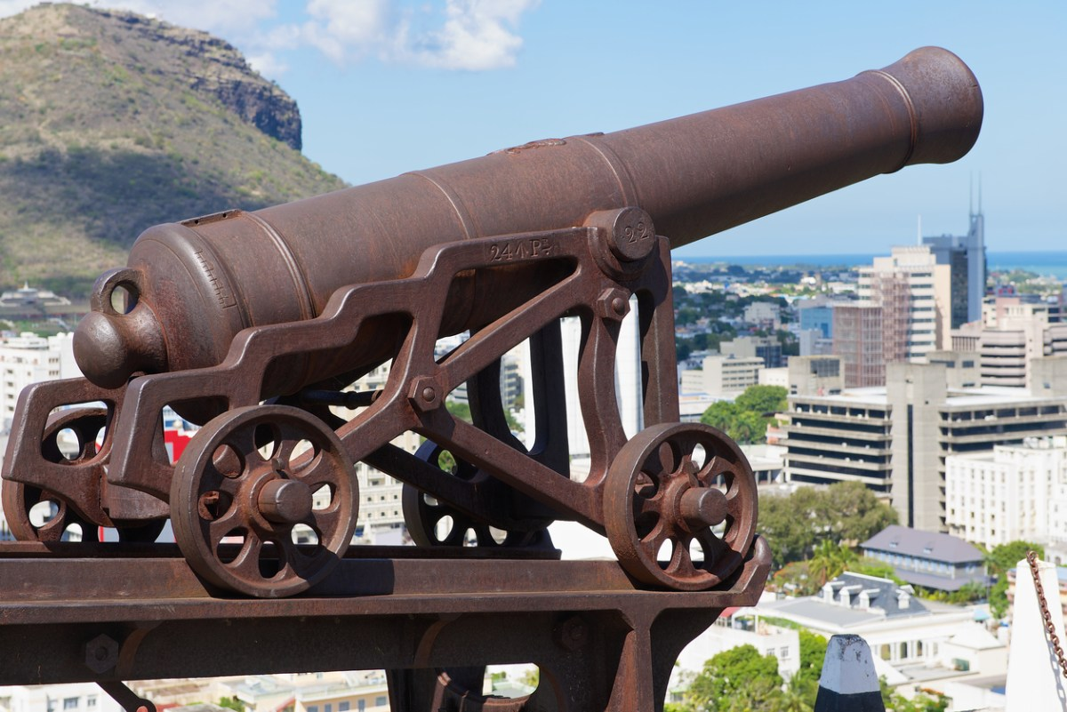 View of the old cannon at the entrance to the Fort Adelaide overlooking the city in Port Louis, Mauritius. Photo: iStock/Getty Images