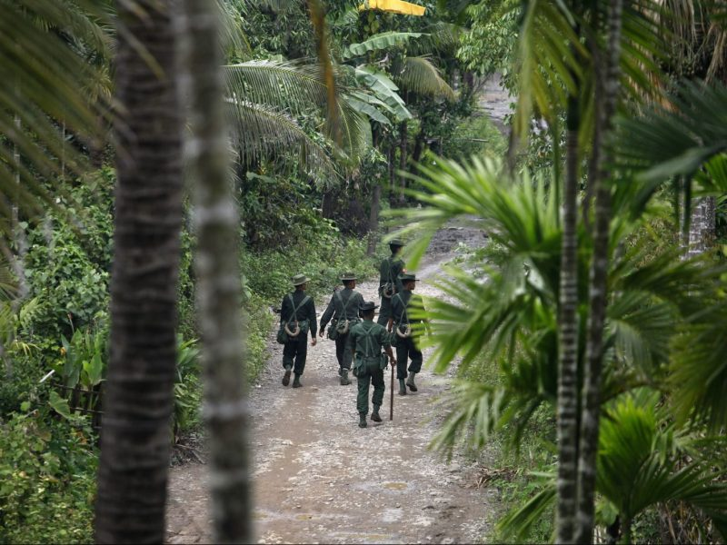 Myanmar solders patrol the streets at Thapyuchai village, outside of Thandwe in the Rakhine State. Photo: Reuters/Soe Zeya Tun
