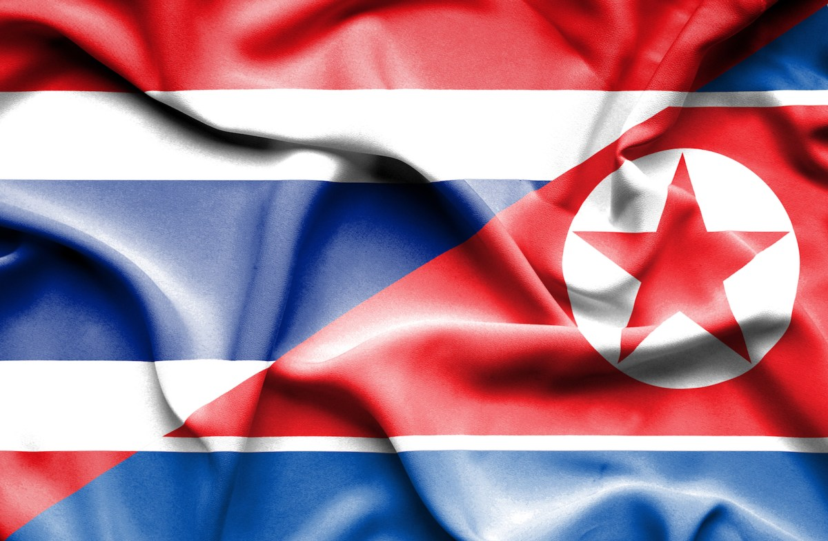 A combined image of North Korea and Thailand's national flags. Photo: iStock/Getty Images