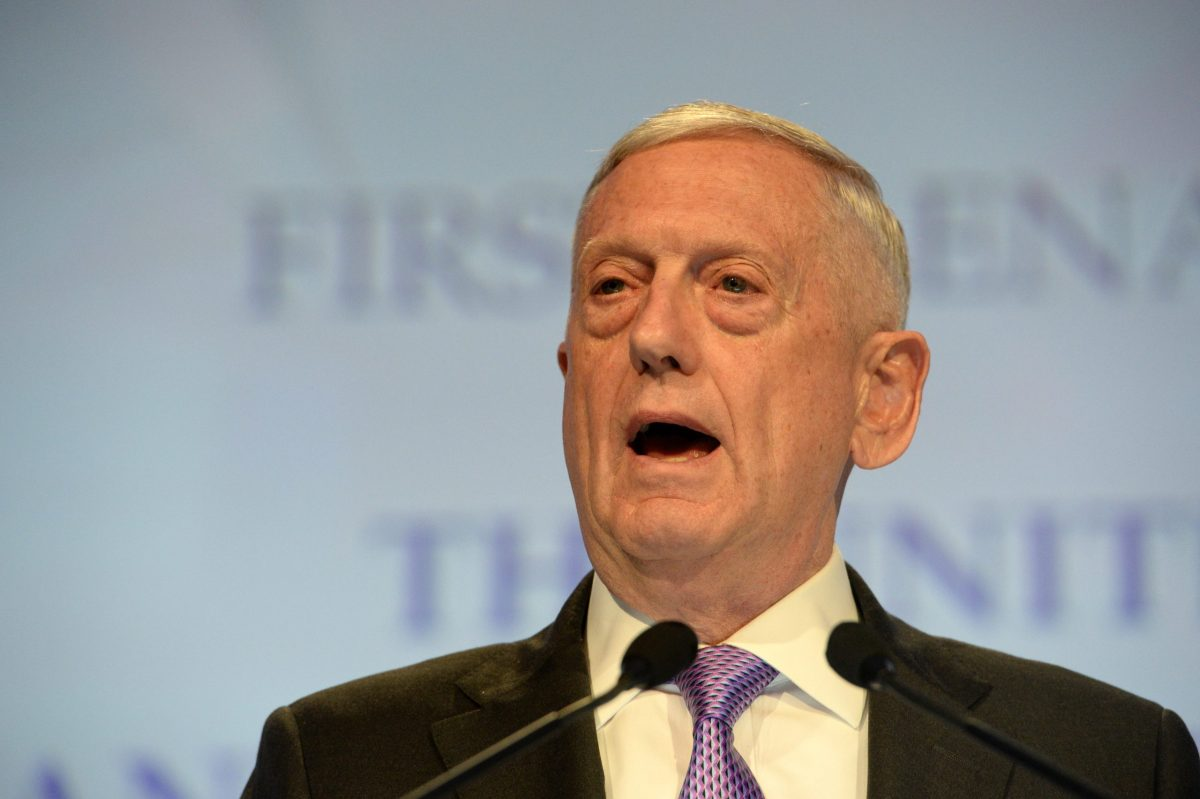 US Pentagon chief Jim Mattis delivers his speech during the first plenary session at the 16th Institute for Strategic Studies (IISS), Shangri-La Dialogue Summit in Singapore on June 3, 2017. The annual Shangri-La Dialogue is attended by defense ministers from around the region and runs from June 2 to 4. Photo: AFP/Roslan Rahman