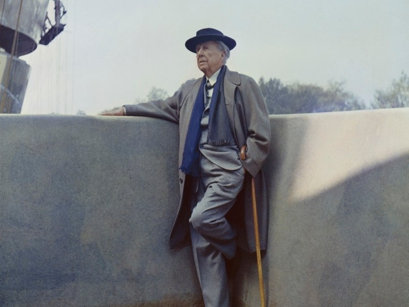 Frank Lloyd Wright on the balcony of the Solomon R. Guggenheim Museum during construction, 1959. Photo: William H Short. Courtesy of Solomon R. Guggenheim Museum Archives.