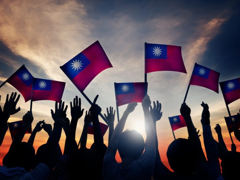Taiwan's flag waved through beams of sunlight.Photo: iStock