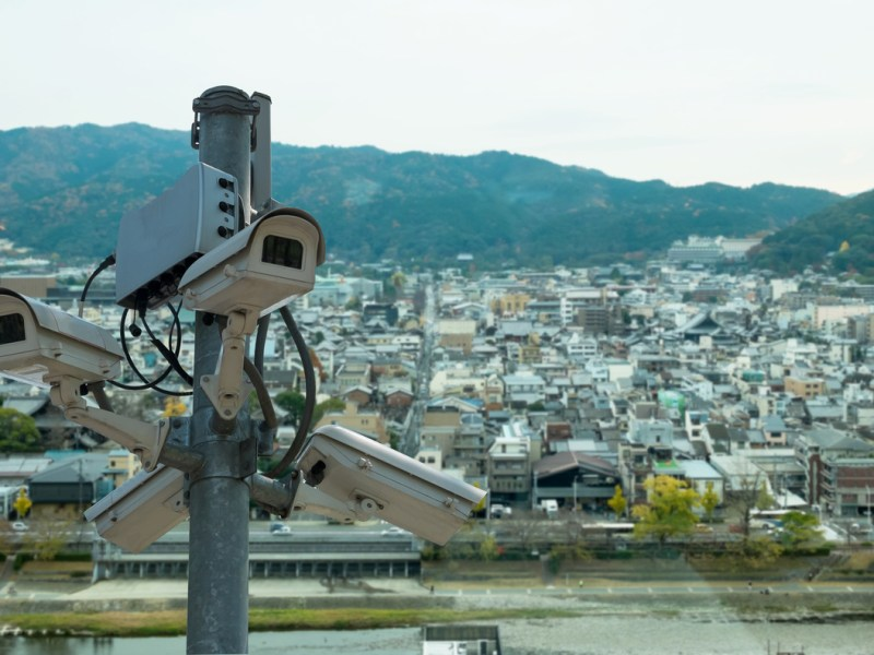CCTV cameras installed in the city, Japan. Photo: iStock