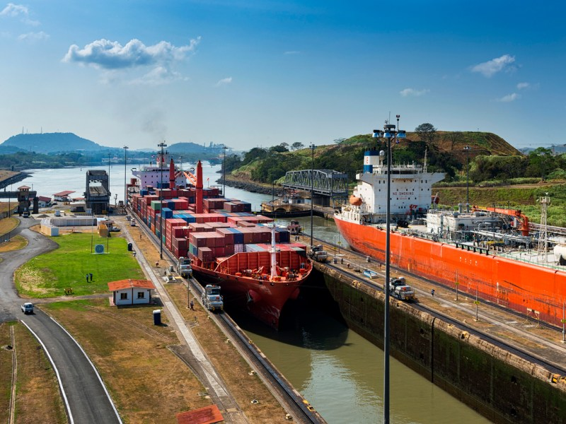 Ships entering the Miraflores gates in the Panama Canal.  Photo: iStock