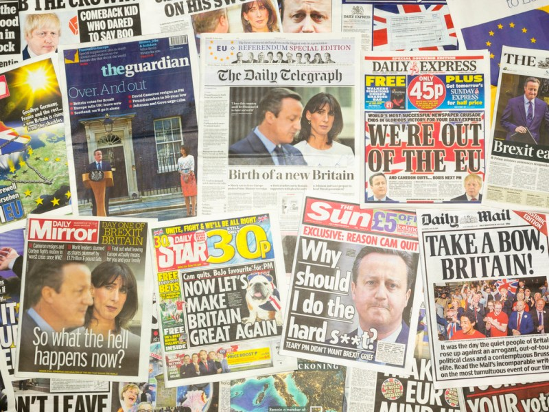 How the British press reported on the Brexit referendum outcome a year ago. Photo: iStock