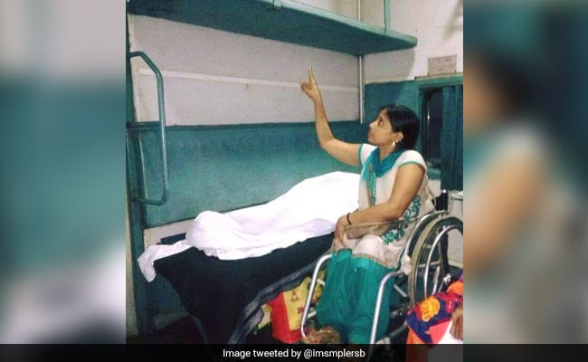 Suvarna Raj points to the upper berth she was assigned but could not use. Photo: NDTV