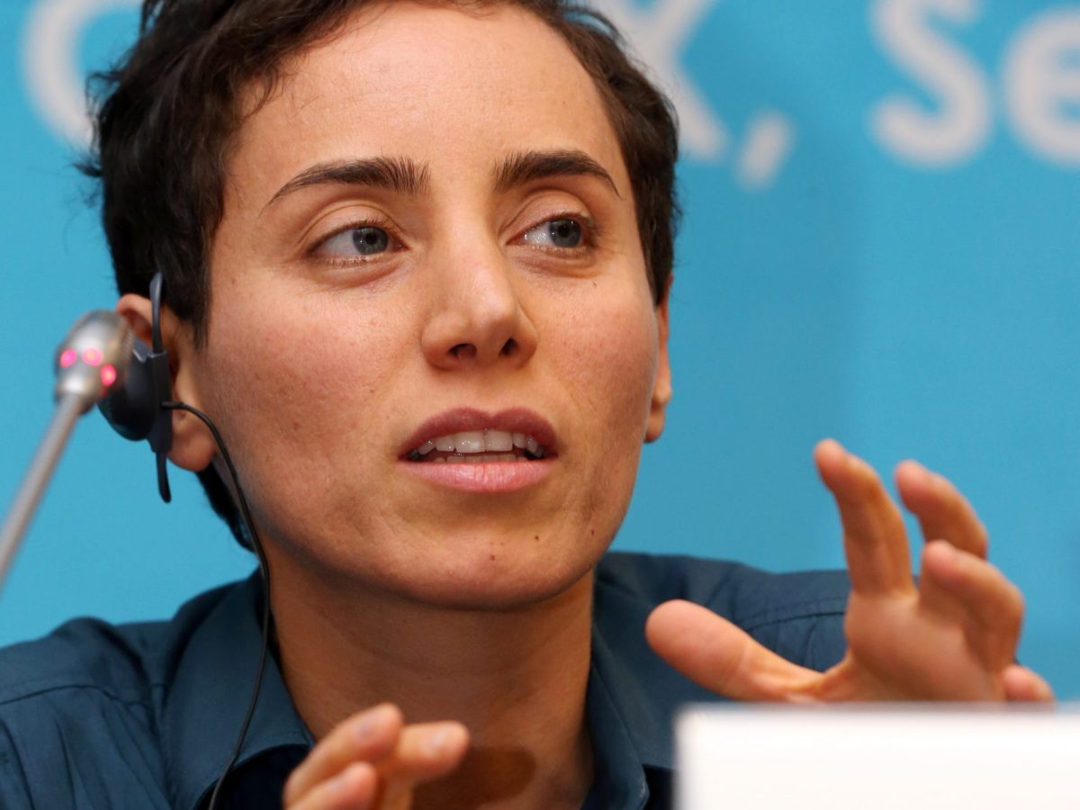 Maryam Mirzakhani gives a press conference after accepting a Fields Medal at the International Congress of Mathematicians in Seoul on August 13, 2014. Photo: AFP