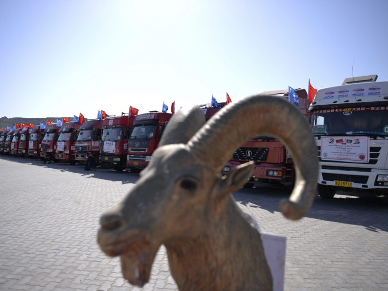 Chinese trucks carrying trade goods are pictured at Gwadar port on November 13, 2016. Photo: AFP / Aamir Qureshi