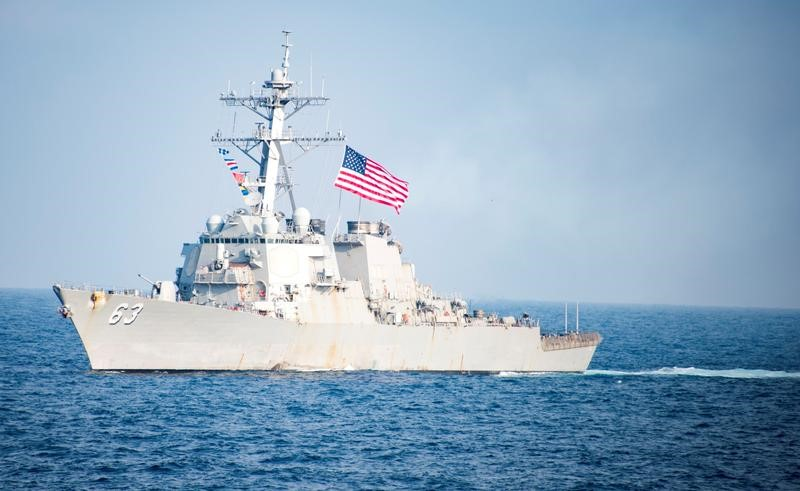 The Arleigh Burke Class missile destroyer USS Stethem transits waters east of the Korean peninsula on March 22, 2017. Photo: US Navy Handout via Reuters/Kurtis Hatcher