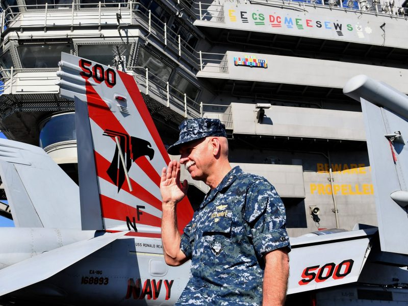 Commander of the U.S. Pacific Fleet Admiral Scott Swift aboard the USS Ronald Reagan in Brisbane, Australia, July 25, 2017.  Photo via Reuters