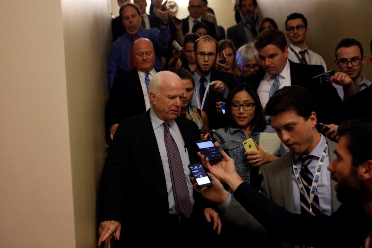 """Senator John McCain (R-AZ) speaks with reporters after voting against the """"skinny repeal"""" health care bill on Capitol Hill in Washington, US, July 28, 2017. Photo: Reuters / Aaron P. Bernstein"""
