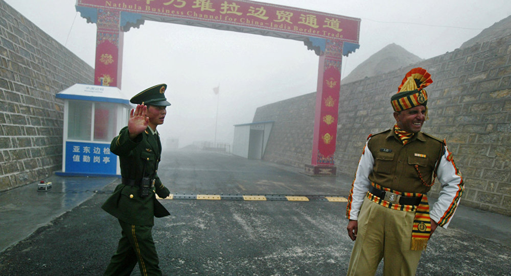 Chinese and Indian patrols at the Doklam Plateau. Photo: AFP