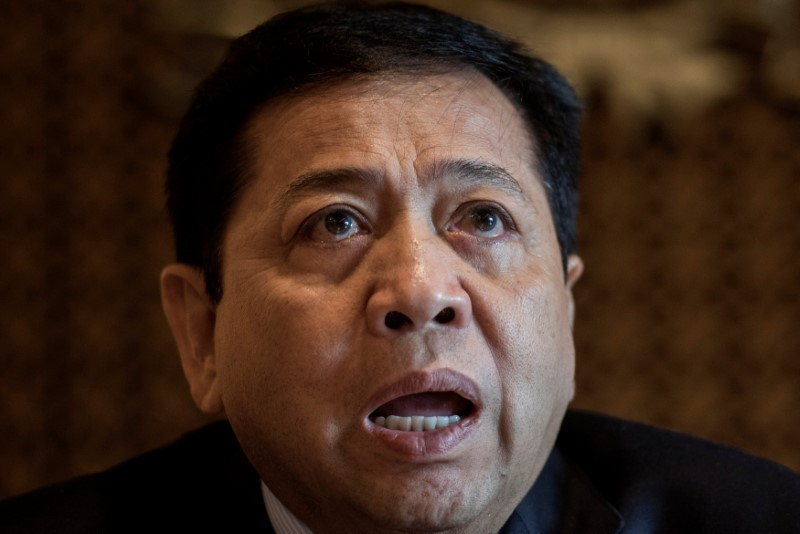 The speaker of Indonesia's parliament, Setya Novanto, talks to reporters in Jakarta, Indonesia, July 18, 2017. Photo: Antara Foto/Agung Rajasa via Reuters