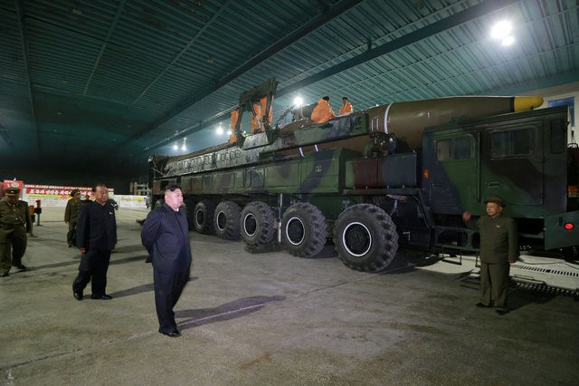 North Korean leader Kim Jong Un inspects the intercontinental ballistic missile Hwasong-14 in this undated photo released by North Korea's Korean Central News Agency in Pyongyang on July 5, 2017. Photo: KCNA/Reuters.
