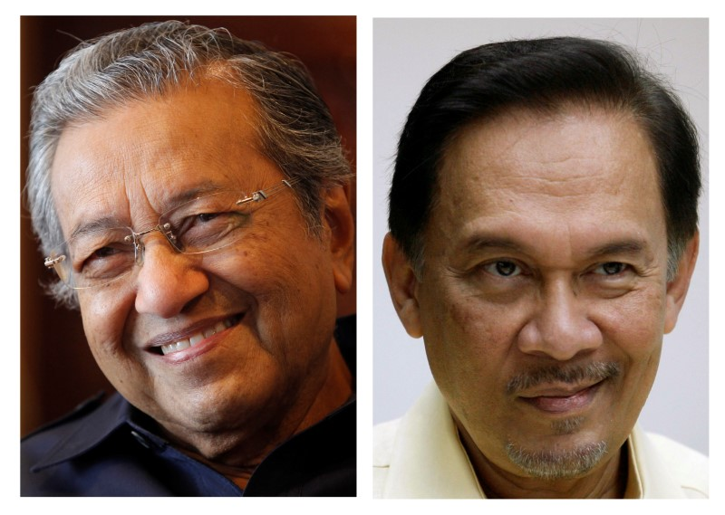 A combination photo shows Malaysia's former prime minister Mahathir Mohamad (L) and jailed opposition leader Anwar Ibrahim in their offices in Malaysia on May 4, 2011 (L) and March 11, 2010. REUTERS/Bazuki Muhammad/Files