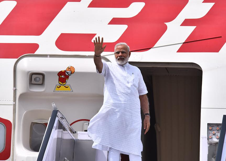 Indian Prime Minister Narendra Modi leaves New Delhi bound for Israel on Tuesday. Photo courtesy of India's Press Information Bureau