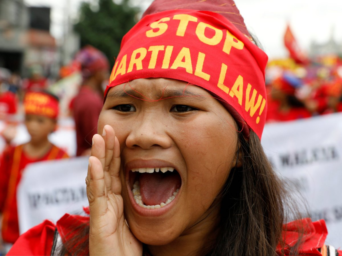 A protester chants anti-government slogans during a march towards the Philippine Congress ahead of President Rodrigo Duterte's State of the Nation address in Quezon city, Metro Manila Philippines July 24, 2017. Reuters/Erik De Castro