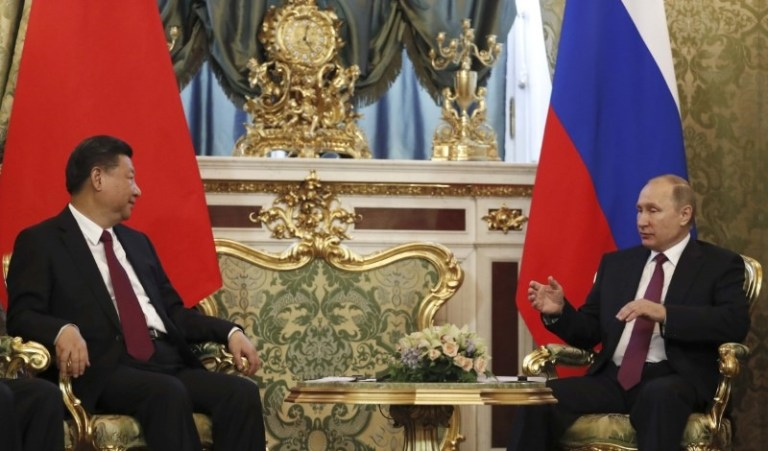 Russian President Vladimir Putin meets with his Chinese counterpart Xi Jinping at the Kremlin on July 4, 2017. Photo: Reuters / Sergei Ilnitsky / Pool