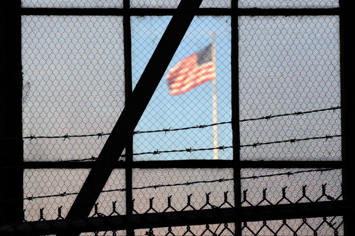 The US flag flies over the war crimes courtroom in Camp Justice at the US Naval Base in Guantanamo Bay, Cuba in a photo reviewed by the US Department of Defense.  Photo: AFP/Michelle Shephard/ Toronto Star
