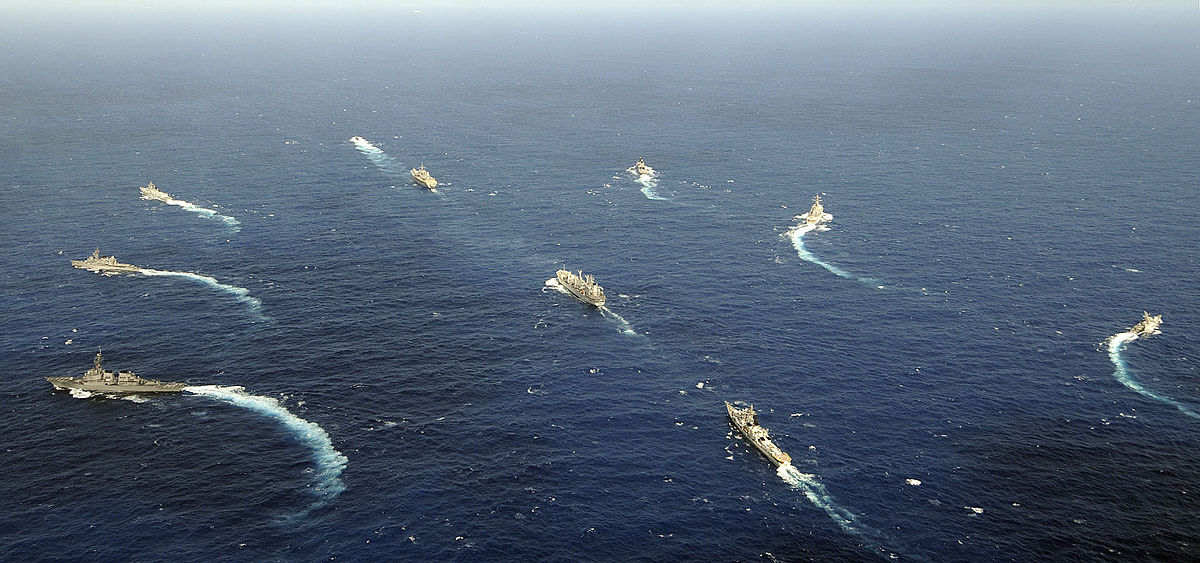 Maritime forces from India, Japan and the U.S. are underway during Malabar 2009, a trilateral training exercise led by the Indian Navy. Photo: US Navy